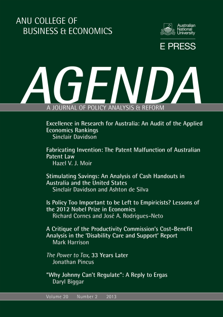 Agenda - A Journal of Policy Analysis and Reform: Volume 20, Number 2, 2013