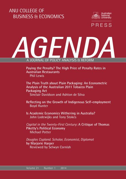 Agenda - A Journal of Policy Analysis and Reform: Volume 21, Number 1, 2014