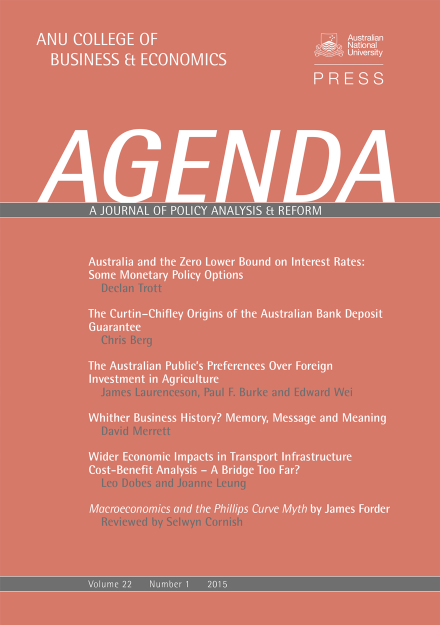 Agenda - A Journal of Policy Analysis and Reform: Volume 22, Number 1, 2015