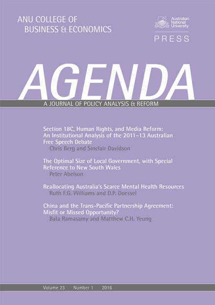 Agenda - A Journal of Policy Analysis and Reform: Volume 23, Number 1, 2016