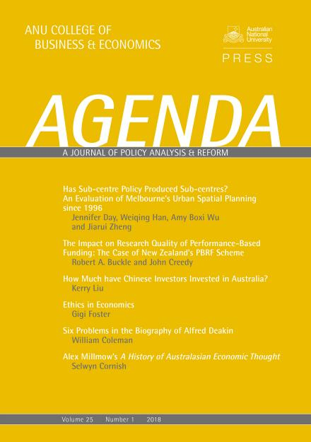 Agenda - A Journal of Policy Analysis and Reform: Volume 25, Number 1, 2018