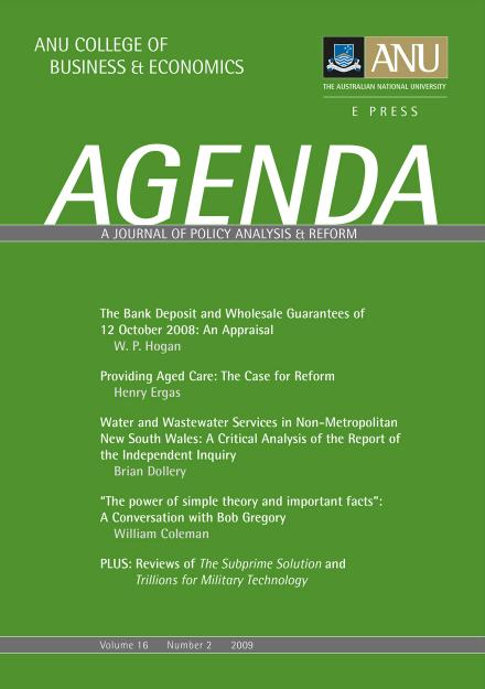 Agenda  A Journal Of Policy Analysis And Reform  Anu Press  Anu