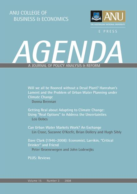 Agenda A Journal of Policy Analysis and Reform – Agenda
