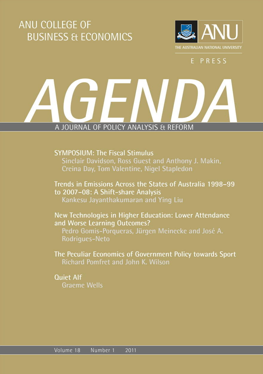 Agenda - A Journal of Policy Analysis and Reform: Volume 18, Number 1, 2011