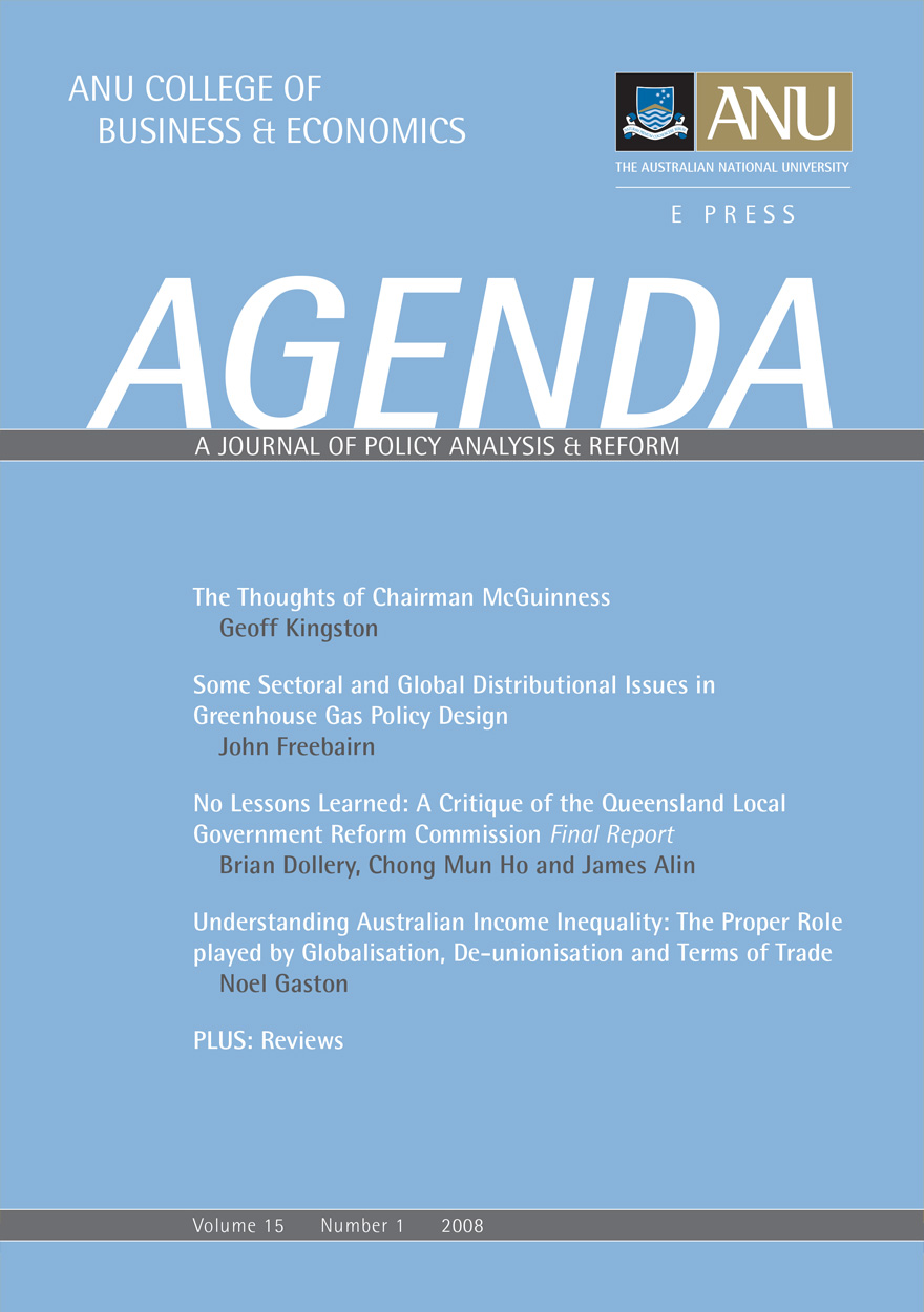Agenda - A Journal of Policy Analysis and Reform: Volume 15, Number 1, 2008