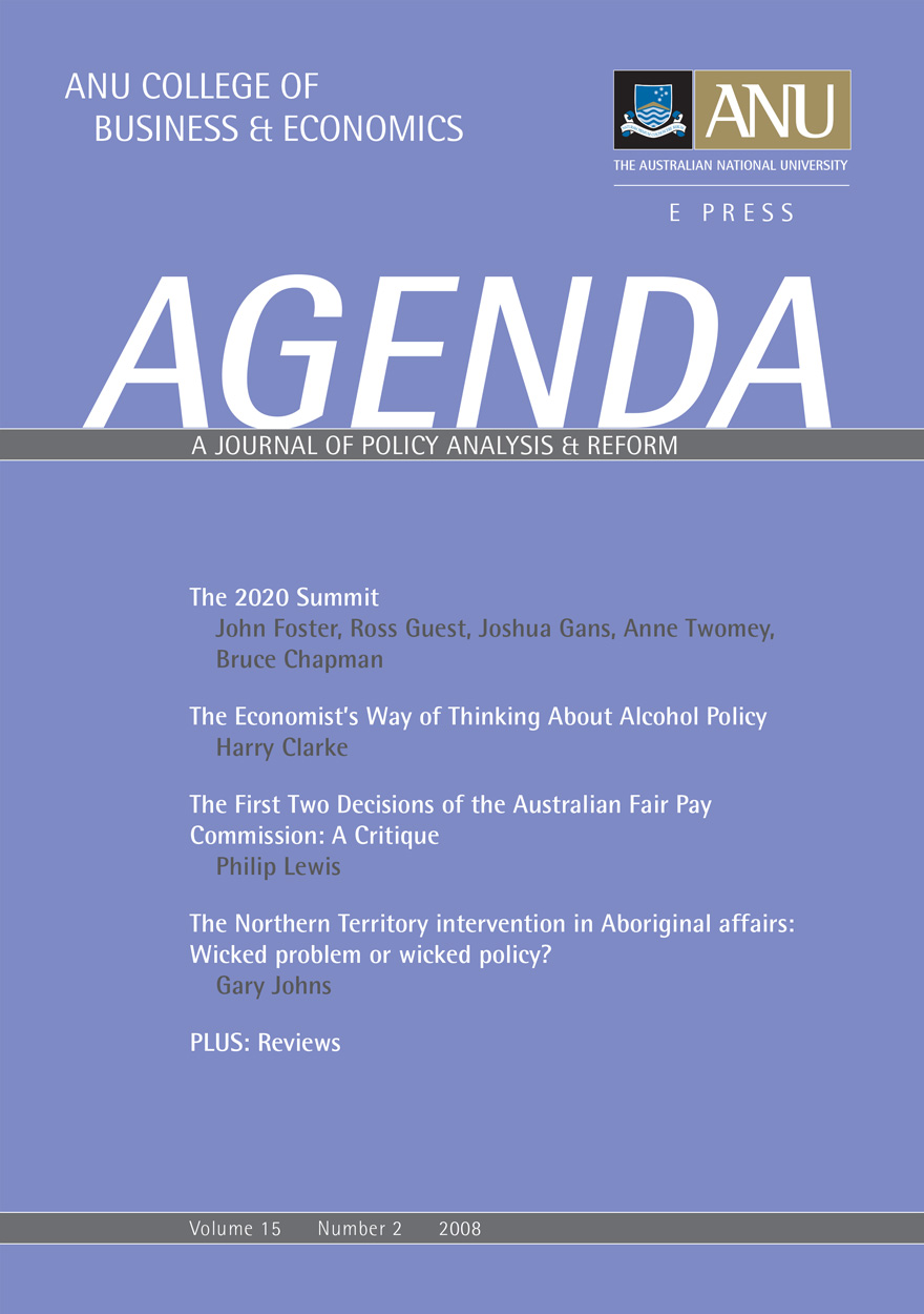 Agenda - A Journal of Policy Analysis and Reform: Volume 15, Number 2, 2008