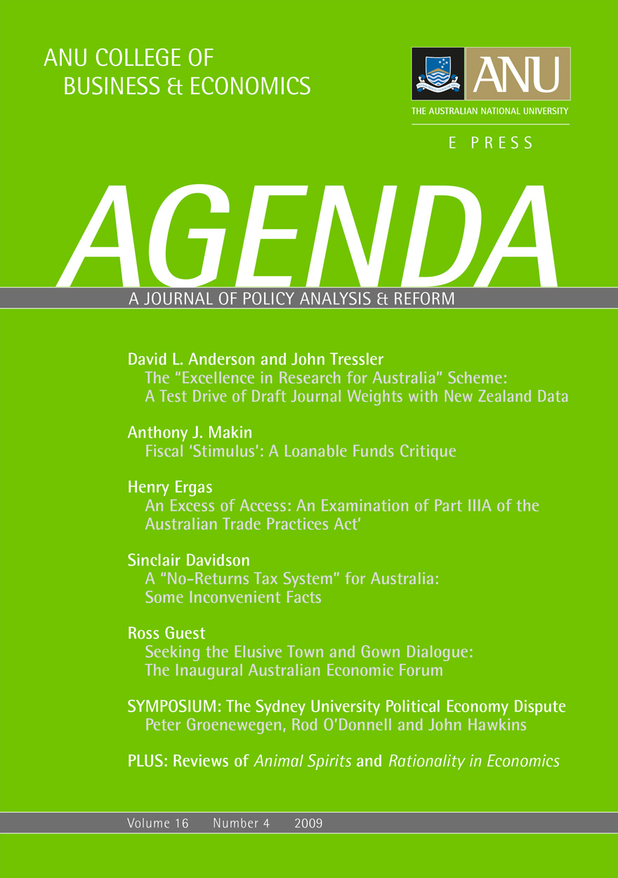 Agenda - A Journal of Policy Analysis and Reform: Volume 16, Number 4, 2009