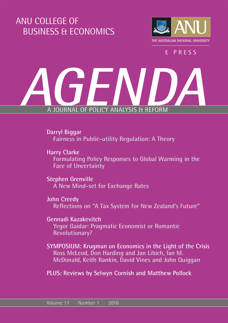 Agenda - A Journal of Policy Analysis and Reform: Volume 17, Number 1, 2010