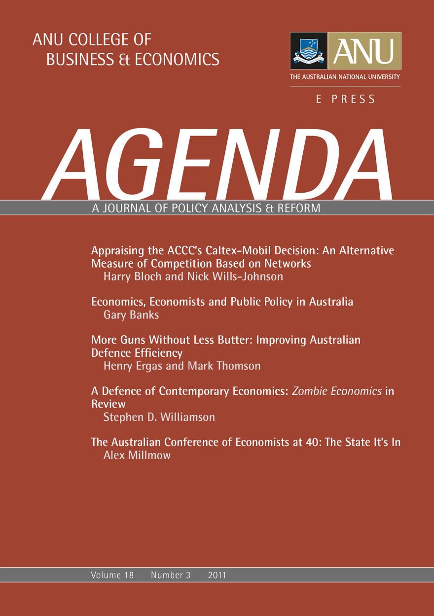 Agenda - A Journal of Policy Analysis and Reform: Volume 18, Number 3, 2011