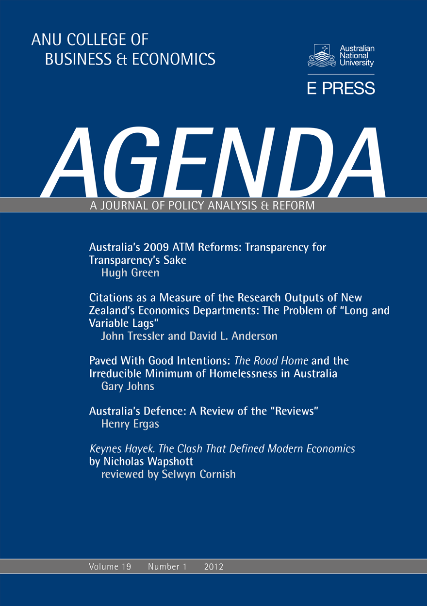 Agenda - A Journal of Policy Analysis and Reform: Volume 19, Number 1, 2012