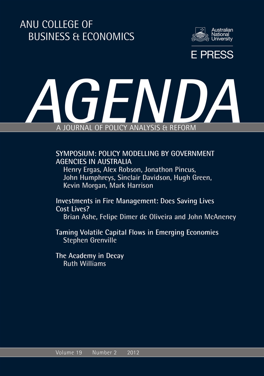 Agenda - A Journal of Policy Analysis and Reform: Volume 19, Number 2, 2012
