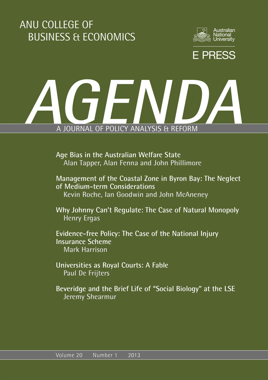Agenda - A Journal of Policy Analysis and Reform: Volume 20, Number 1, 2013