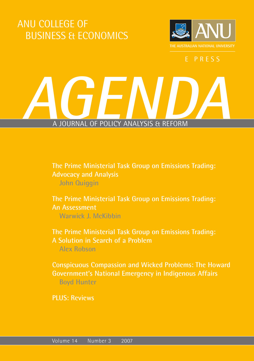Agenda - A Journal of Policy Analysis and Reform: Volume 14, Number 3, 2007