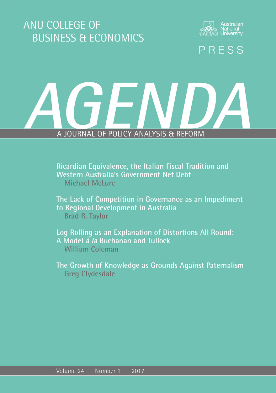 Agenda - A Journal of Policy Analysis and Reform: Volume 24, Number 1, 2017